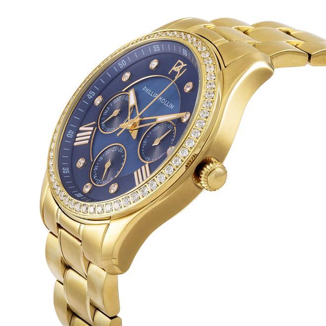 Relógio Feminino Phillip Kollin Monte Carlo ZY28083A Gold Blue Diamond.  Ampliar 3c7ebf8efb