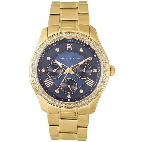 40ca8a9f19d Relógio Feminino Phillip Kollin Monte Carlo ZY28083A Gold Blue Diamond