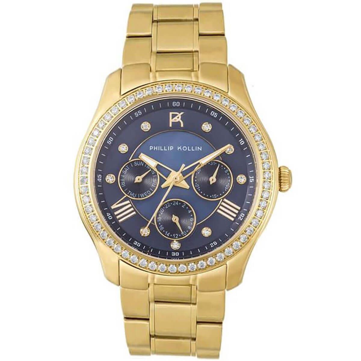 99b776677b5 Relógio Feminino Phillip Kollin Monte Carlo ZY28083A Gold Blue Diamond
