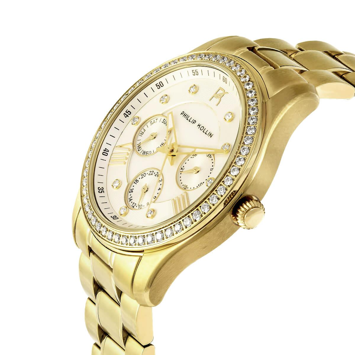 Relógio Feminino Phillip Kollin Monte Carlo ZY28083H Gold White Diamond 478bf1397a