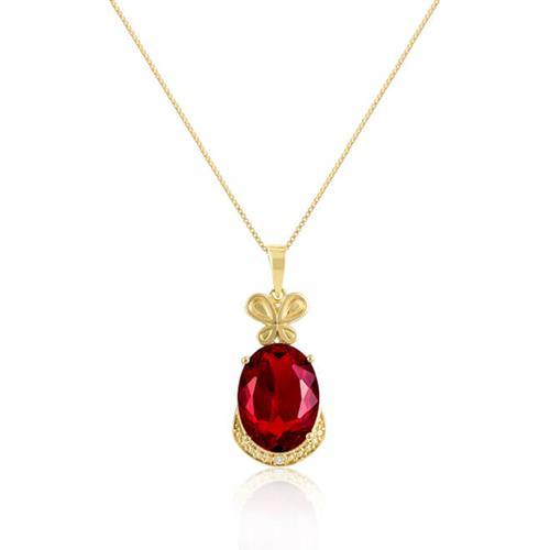 Pingente Lacinho com Quartzo Rubi e Diamante, Modelo Oval