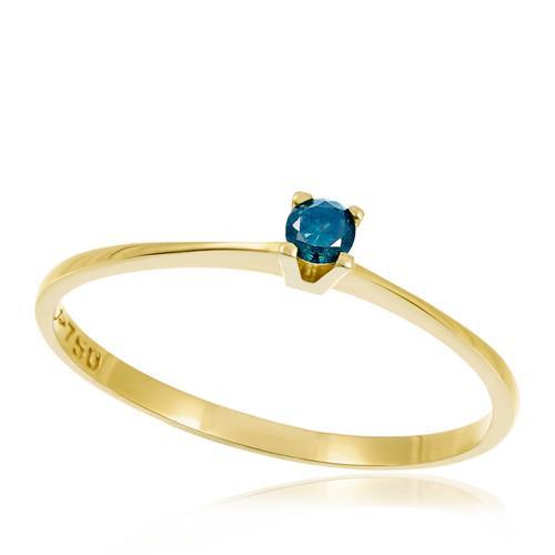 Anel de Ouro Solitário com Diamante Azul de 8 Pts abe880bbc2