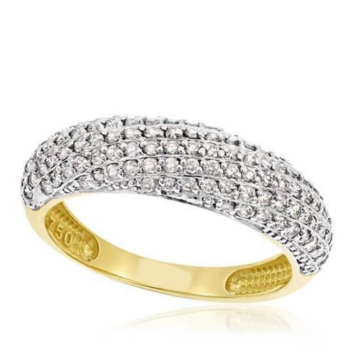 Anel Pavê com 101 Diamantes, em Ouro Amarelo