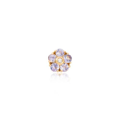 Pingente Flor com Diamante e 5 Tanzanitas totalizando 35 Pts, em Ouro Amarelo