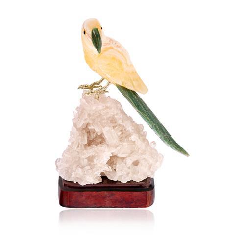 Estátua Papagaio com Base em Cristal e Madeira