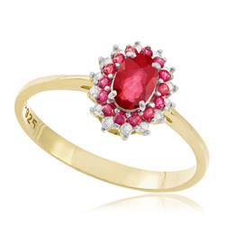 Anel com Rubi Oval e 8 Diamantes, Modelo Princesa