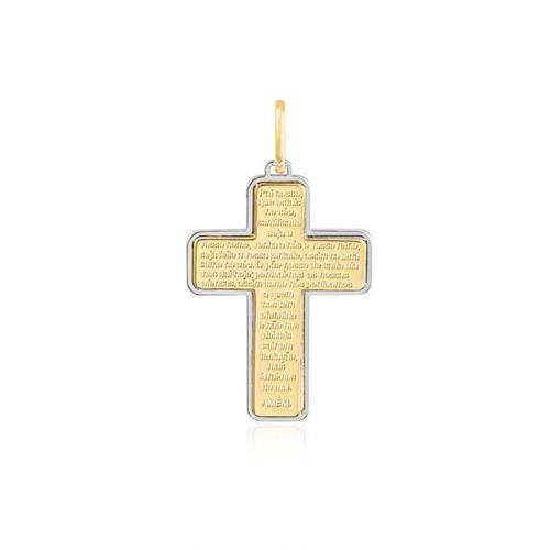 Pingente Cruz Pai Nosso em Ouro 2 Cores