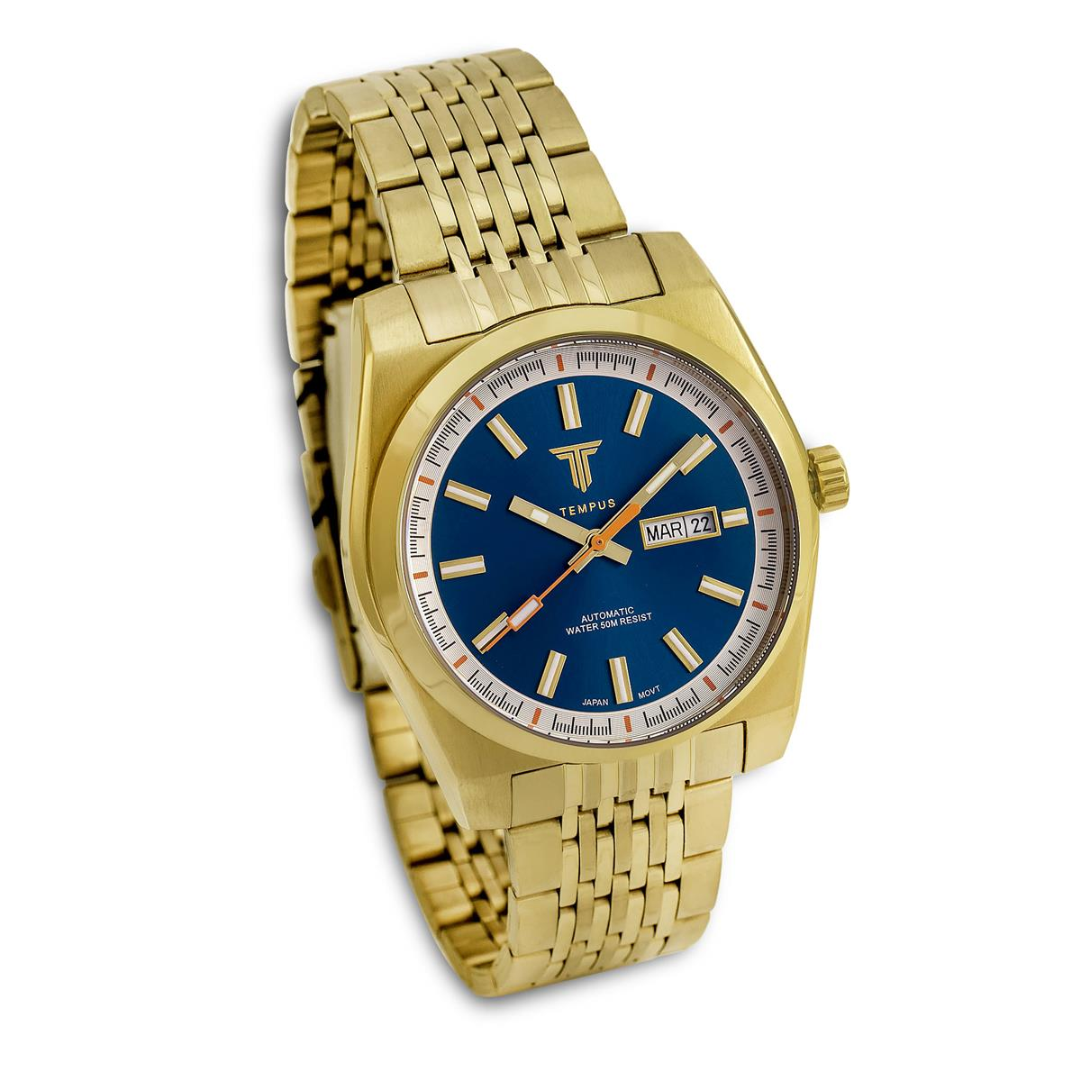 e42a90ef024 Relógio Masculino Tempus Yacht ZW30312A Gold Blue