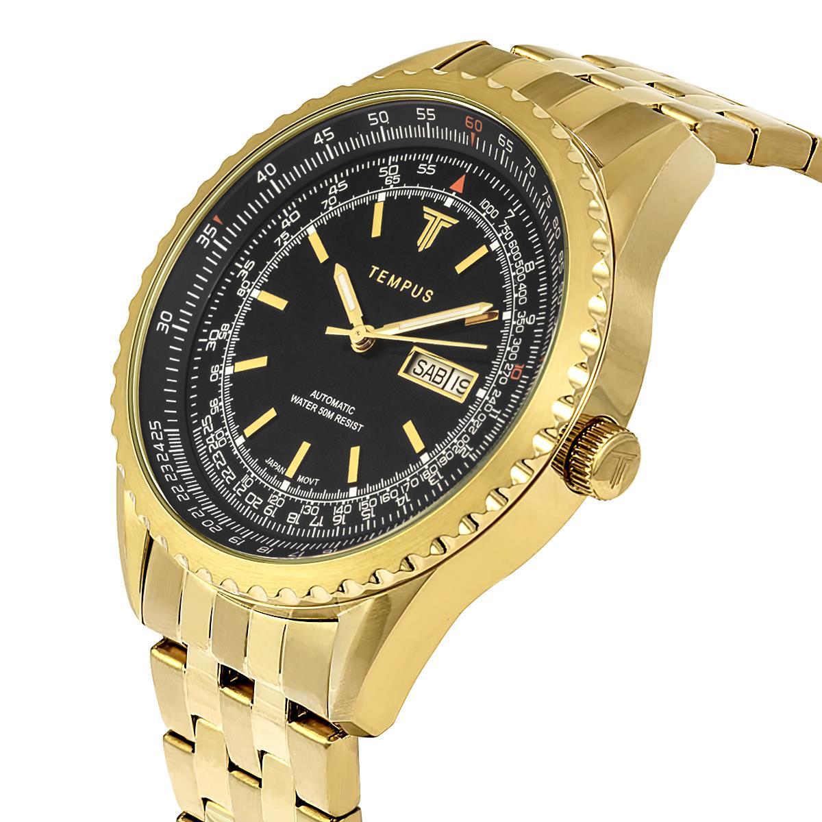 37cd46ea50e Relógio Masculino Tempus Magnific ZW30321U Gold Black
