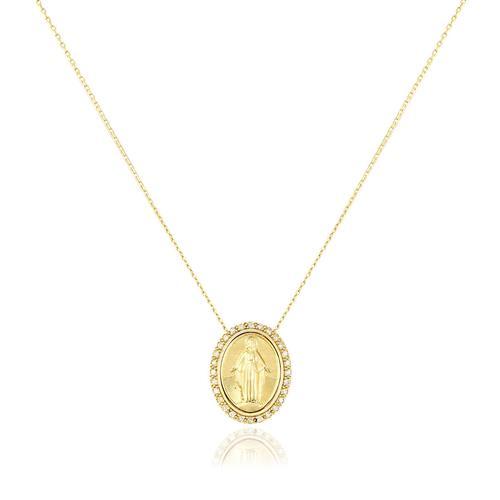 2a288914a40 Corrente de Ouro Elos Cartier com Pingente Nossa Senhora com Diamantes