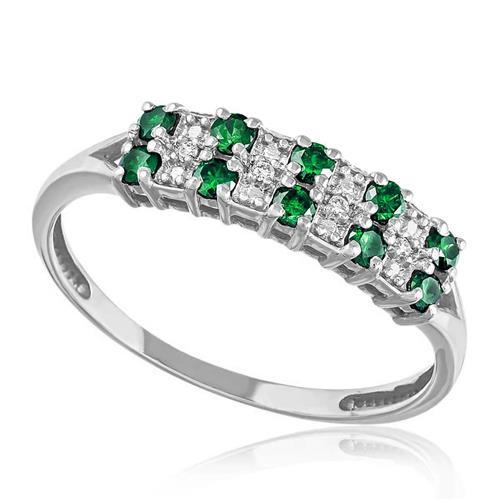 22ded89106d71 Meia Aliança Dupla de Ouro Branco com 10 Esmeraldas e 4 Diamantes