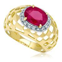49db017d69d Anel de Ouro com Rubi Central e com 16 Diamantes
