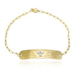 Pulseira Chapinha de Ouro com Espírito Santo e 9 Dia. 4c7d00a23a