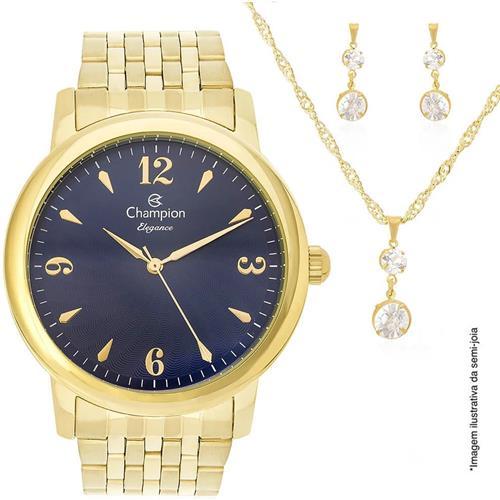 0276961d8b5 Relógio Feminino Champion Elegance Kit Colar e Par de Brincos Analógico  CN27992K Dourado