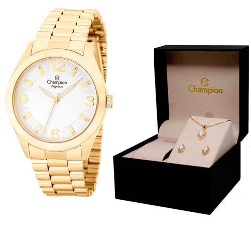 1123b190843 Relógio Feminino Champion Elegance Kit Colar e Par de Brincos Analógico  CN25216W Dourado