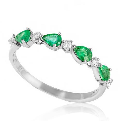 c194054221bf1 Meia Aliança de Ouro Branco com Diamantes e 40 Pts em Esmeraldas