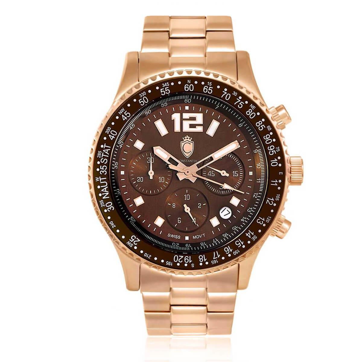 fa3895f3267 Relógio Masculino Constantim Navitimer Analógico CT-01 G0099C Rose Brown