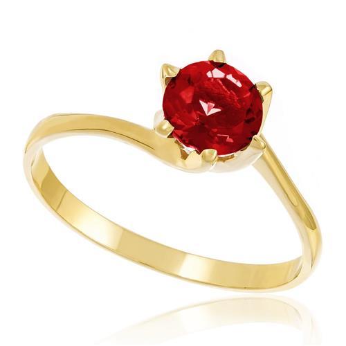 Anel Solitário de Ouro com Quartzo Rubi redondo   Joias Vip 382612c8d3
