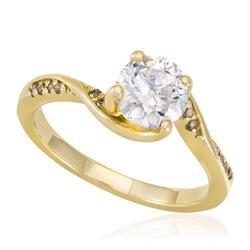 Anel Solitário de Ouro com 12 Diamantes Laterais e Diamante Central de 1,0  Ct e541da8650