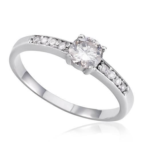 Anel Solitário com 8 Diamantes laterais e Diamante Central de 60 pts., em Ouro  Branco 58539 4255b3a2b3