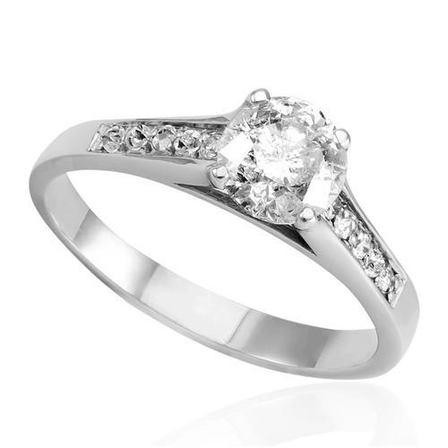 Anel Solitário com Diamantes Laterais e Diamante Central de 1,0 Ct., em 22fc837b78