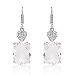 Par de Brincos Corações de Prata com 2 Diamantes e C.. d6dda4b9cb
