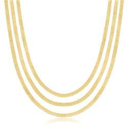 Gargantilha de Ouro Malha 3 Fios Entrelaçados cab2f756a3