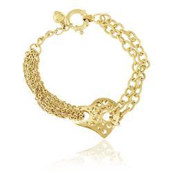 Pulseira de Ouro com Coração Vazado e elos ovais c0a6a9476c