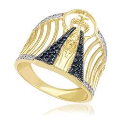 16db1cbdfa0f3 Anel de Ouro Nossa Senhora Aparecida com 40 Diamantes e 30 Safiras