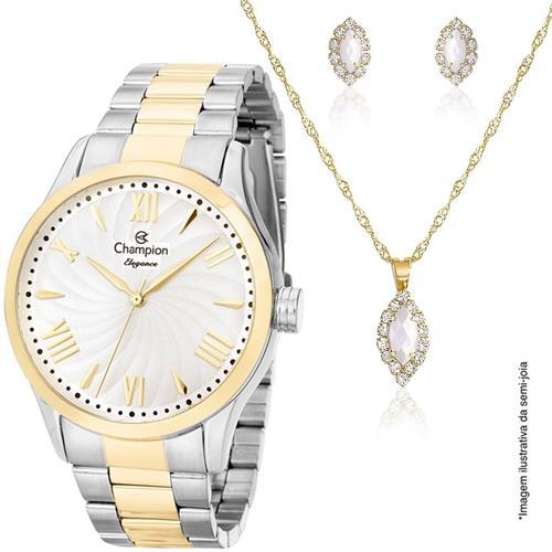 b5c6030522e Relógio Feminino Champion Elegance Kit Colar e Par de Brincos Analógico  CN27796D Dourado