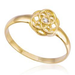5111f3b5601f8 Anel Solitário de Ouro modelo Flor com Argolas Tranç.
