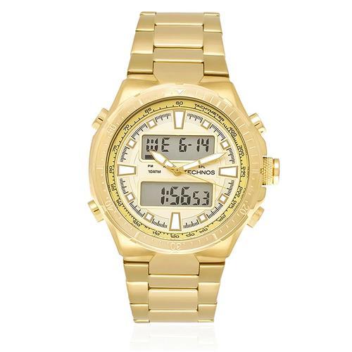 6304e47e9ff Relógio Masculino Technos Performance TS digital e analógico 0527AB 4X  Dourado com cronógrafo