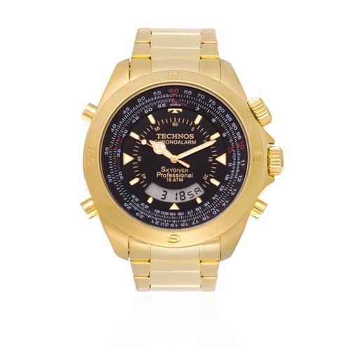 Relógio Masculino Technos Performance Skydiver Analógico T20565 4P Dourado 2e91de8afd