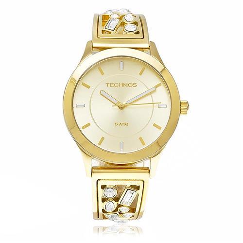 Relógio Feminino Technos Elegance Crystal Analógico 2035LZB 4X Dourado 1b50c69246