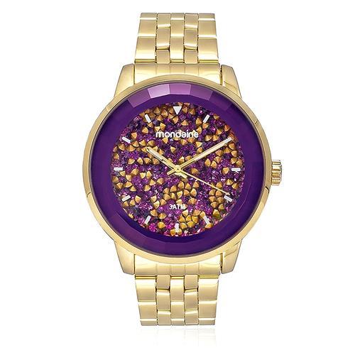 a9cae815e93 Relógio Feminino Mondaine Analógico 94713LPMVDE4 dourado mostrador roxo