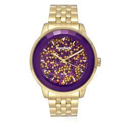 Relógio Feminino  Mondaine Analógico 94713LPMVDE4 dourado mostrador roxo
