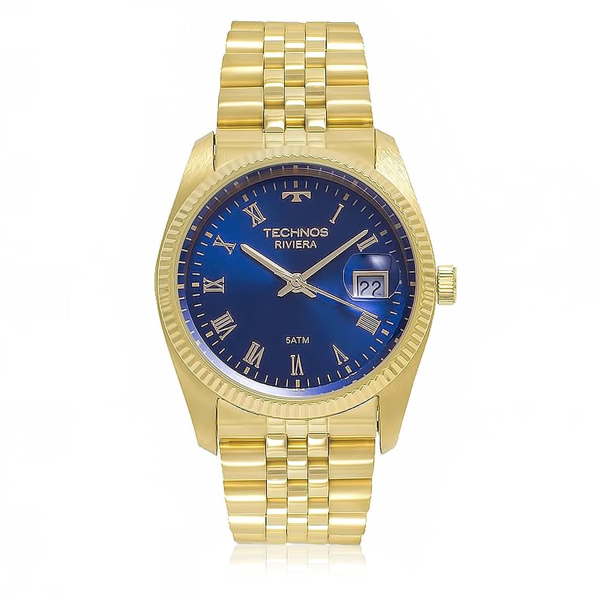 Relógio Masculino Technos Classic Riviera GM10YC 4A Fundo Azul 3a704f6795