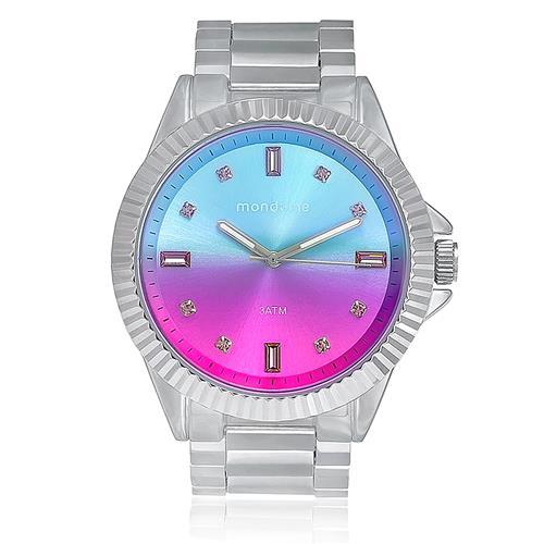 a61620c8ac1 Relógio Feminino Mondaine Analógico 76497L0MVNE3 em aço com mostrador azul  e rosa