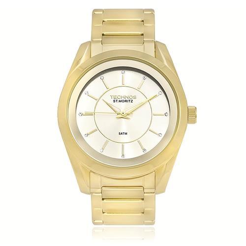 Relógio Feminino Technos St. Moritz Analógico 2035LMT 4X Dourado com  cristais 73a1a548d7