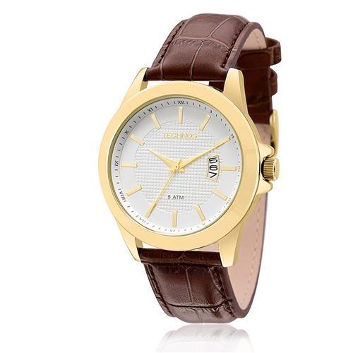 Relógio Masculino Technos Classic Steel Analógico 2115KQL/0K Couro Marrom