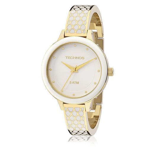 Relógio Feminino Technos Fashion Unique Analógico 2035MBY 4B Dourado com  cerâmica branca 8c5c4d1ed9