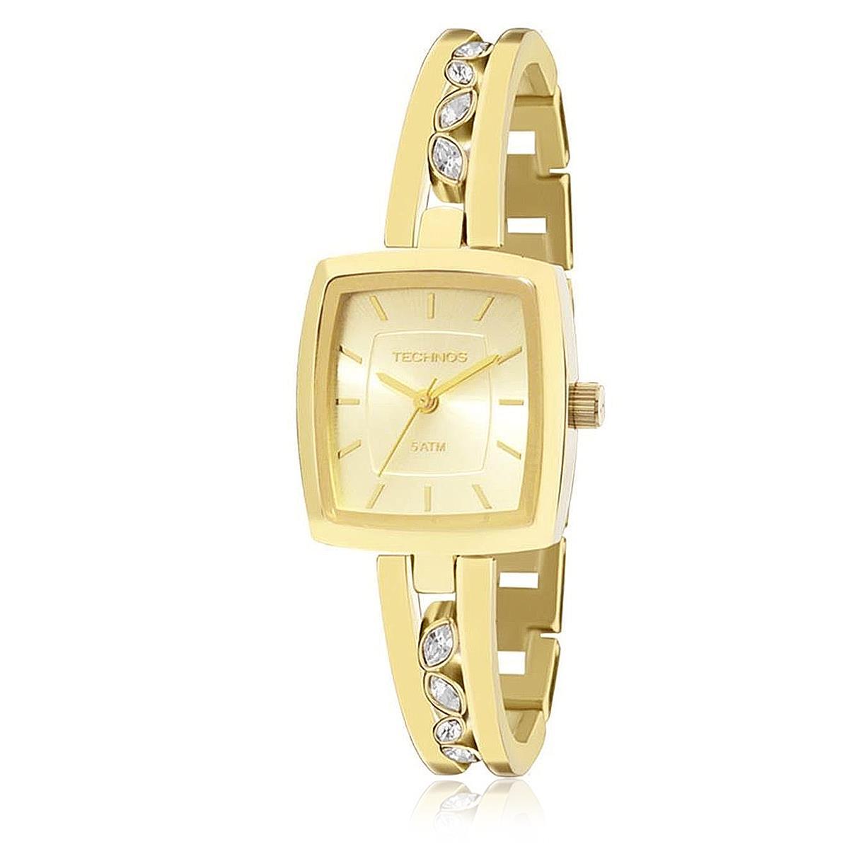 Relógio Feminino Technos Elegance Analógico 2035MCB 4X dourado com com  cristais 0c7af8b100