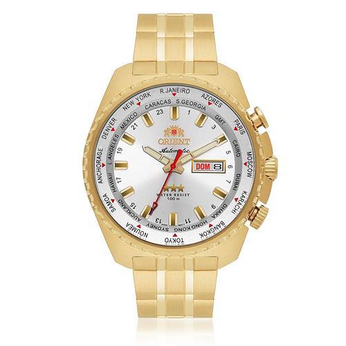 5ccaf09fc47 Relógio Masculino Orient GMT Automático 469GP057 S1KX Fundo Prateado