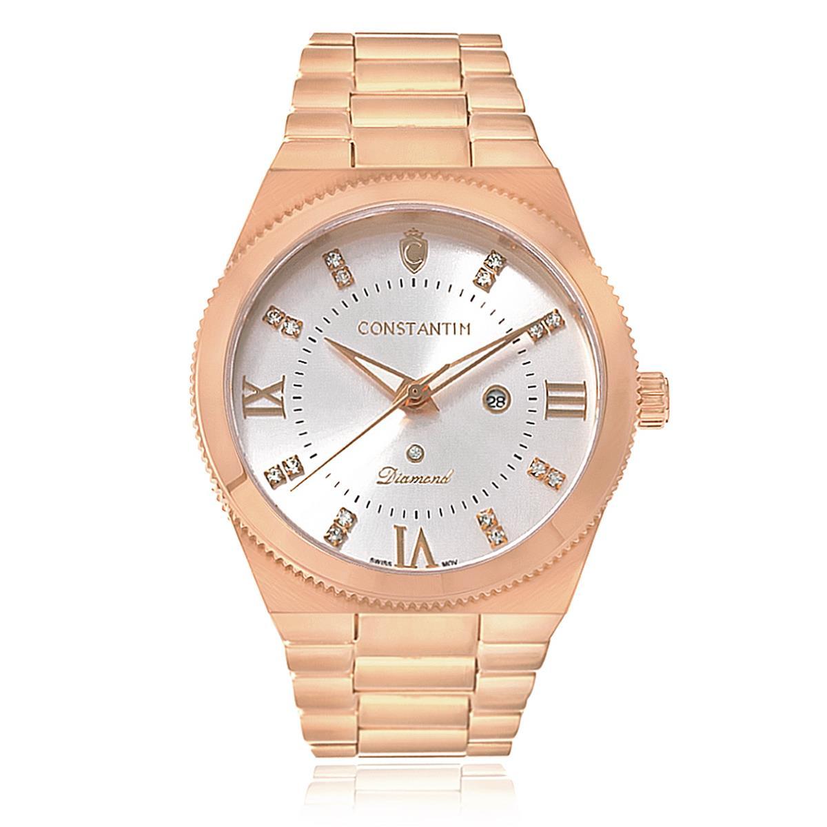 6be7538a9ee Relógio Constantim Diamond Rose Silver Analógico 6651-RS Aço Rose