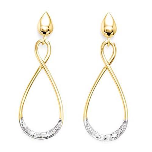 Par de Brincos Gotas com 8 Diamantes em Ouro Amarelo