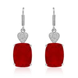 Par de Brincos Corações com 2 Diamantes e Quartzo Rubi¸ em Prata