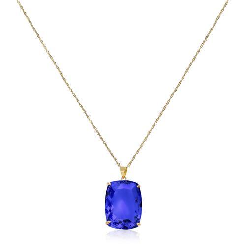Corrente com Pingente Cristal de Tanzanita Retangular de 10 Cts¸ em Ouro Amarelo