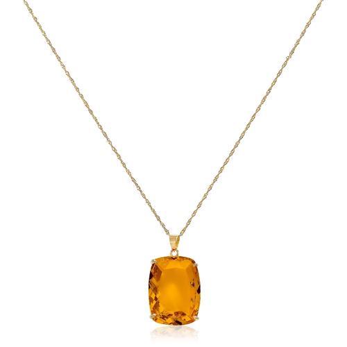 Pingente Citrino Retangular de 10 Cts, em Ouro Amarelo