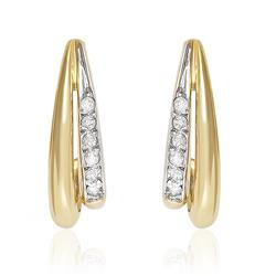 Par de Brincos Meia Argola com 12 Diamantes, em Ouro Amarelo