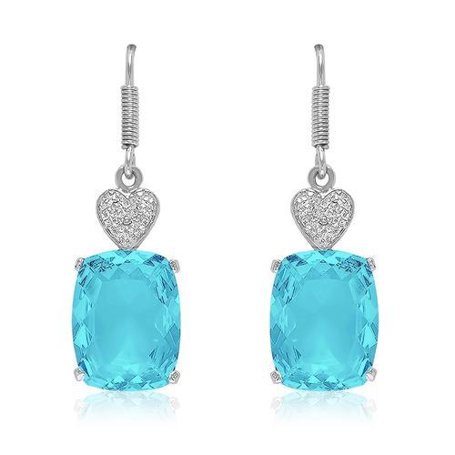 Par de Brincos Corações com 2 Diamantes e Sky Blue, em Prata